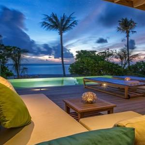 Hurawalhi Island - Luxury Maldives Honeymoon Packages - Beach Sunset Pool Villa exterior deck