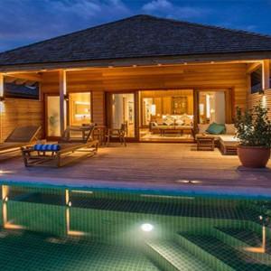 Hurawalhi Island - Luxury Maldives Honeymoon Packages - Ocean Pool Villas exterior at night