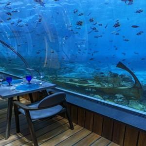 Hurawalhi Island - Luxury Maldives Honeymoon Packages - underwater restaurant