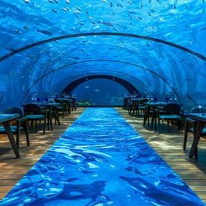 Hurawalhi Island - Luxury Maldives Honeymoon Packages - underwater restaurant1