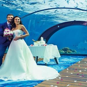 Hurawalhi Island - Luxury Maldives Honeymoon Packages - wedding at the underwater restaurant1