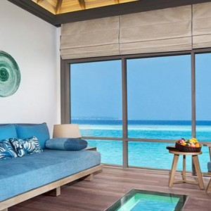 JA Manafaru - Luxury Maldives Honeymoon Packages - Sunrise water villas with infinity pools living room