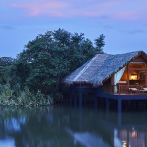 Jetwing Vil Uyana - Luxury Sri Lanka Honeymoon Packages - Water Dwelling Exterior at night