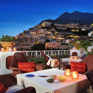 Le Sirenuse - Luxury Italy Honeymoon Packages - dining with a view