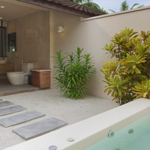 Lily Beach Resort and Spa at Huvahendhoo - Luxury Maldives Honeymoon Packages - Beach Villa bathroom view