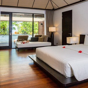 Lily Beach Resort and Spa at Huvahendhoo - Luxury Maldives Honeymoon Packages - Beach Villa bedroom