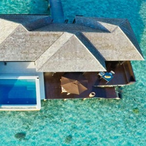 Lily Beach Resort and Spa at Huvahendhoo - Luxury Maldives Honeymoon Packages - Sunset Water Suite aerial view