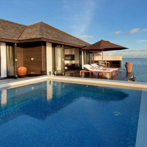 Lily Beach Resort and Spa at Huvahendhoo - Luxury Maldives Honeymoon Packages - Sunset Water Suite bathroom view