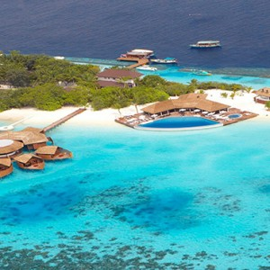Lily Beach Resort and Spa at Huvahendhoo - Luxury Maldives Honeymoon Packages - aerial view1