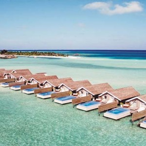Lux South Ari Atoll - Luxury Maldives Honeymoon Packages - Aerial view of overwater villas