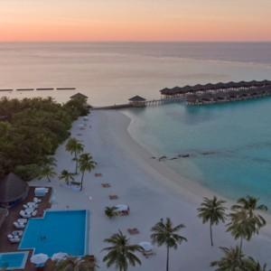 Maafushivaru - Luxury Maldives Honeymoon Packages - Aerial view at sunset