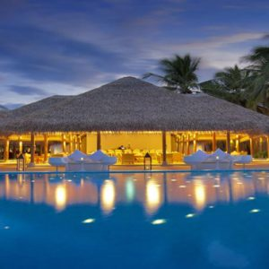 Maldives Honeymoon Packages Maafushivaru Pool At Night