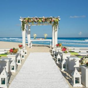 Mexico Honeymoon Packages Secrets The Vine Cancun White Green Beach Wedding Setup