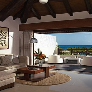 Mexico Honeymoons Packages Secrets Silversands Riviera Cancun – Preferred Club Rooftop Jacuzzi Ocean View Living Area