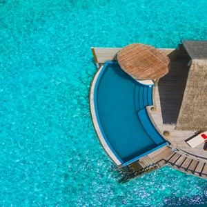Milaidhoo Island Maldives - Luxury Maldives Honeymoon Packages - Water Pool Villa aerial view