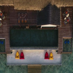 Ozen by Atmosphere at Maadhoo Island - Luxury Maldives Honeymoon Packages - OZEN Water suite aerial view