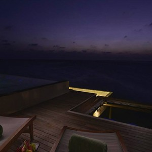 Ozen by Atmosphere at Maadhoo Island - Luxury Maldives Honeymoon Packages - OZEN Water suite pool at night