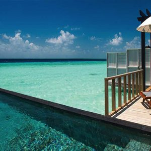 Ozen By Atmosphere At Maadhoo Island Luxury Maldives Honeymoon Packages Wind Villa With Pool Exterior Pool Deck