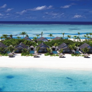 Ozen by Atmosphere at Maadhoo Island - Luxury Maldives Honeymoon Packages - aerial view of villas