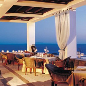 Royal Myconian Hotel and Thalassa Spa - Luxury Greece Honeymoon Packages - Ambrosia Terrace and restaurant