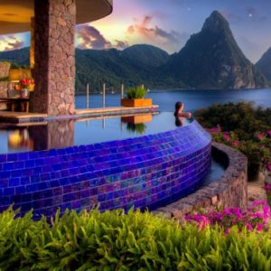 St Lucia Honeymoon Packages Jade Mountain Villa With Pool At Night