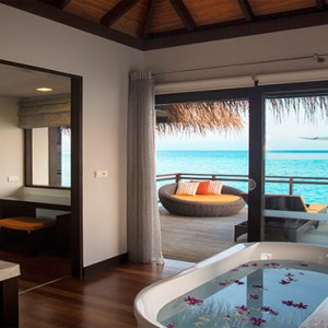 Velassaru Maldives - Luxury Maldives Honeymoon Packages - Water Villa bathroom with a view