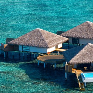Velassaru Maldives - Luxury Maldives Honeymoon Packages - aerial view of overwater villas1