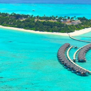 Velassaru Maldives - Luxury Maldives Honeymoon Packages - aerial view of water villas