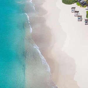 Keyonna Beach - Luxury Antigua Honeymoon Packages - Beach with bali beds aerial view