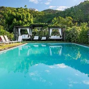 Keyonna Beach - Luxury Antigua Honeymoon Packages - Resort pool seen from beach
