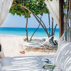 Keyonna Beach - Luxury Antigua Honeymoon Packages - View from inside bali bed