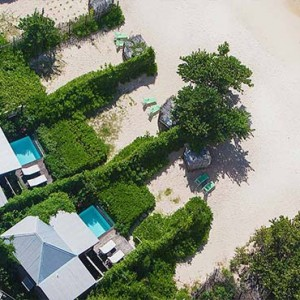 Keyonna Beach - Luxury Antigua Honeymoon Packages - aerial view of some of the Beachfront Pool Cottages