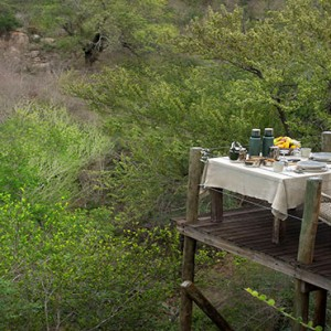 Lion Sands Game Reserve - Luxury South Africa Honeymoon Packages - Kingston treehouse dining