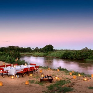 Lion Sands Game Reserve - Luxury South Africa Honeymoon Packages - Tinga lodge outdoor dining