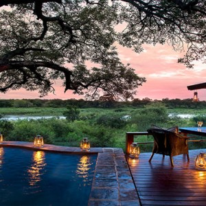 Lion Sands Game Reserve - Luxury South Africa Honeymoon Packages - Tinga lodge pool and deck