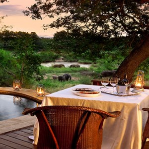 Lion Sands Game Reserve - Luxury South Africa Honeymoon Packages - lodge private dining