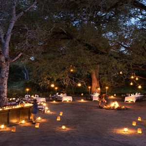 Lion Sands Game Reserve - Luxury South Africa Honeymoon Packages - outdoor dining at night