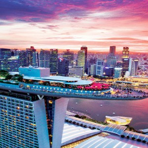 Marina Bay Sands - Luxury Singapore Honeymoon Packages - aerial view at sunset