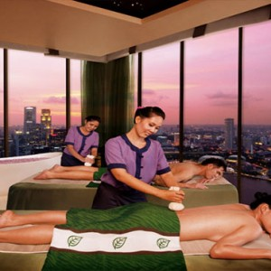 Marina Bay Sands - Luxury Singapore Honeymoon Packages - couple spa massage with a view