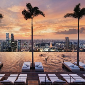 Marina Bay Sands - Luxury Singapore Honeymoon Packages - infinity rooftop pool at sunset