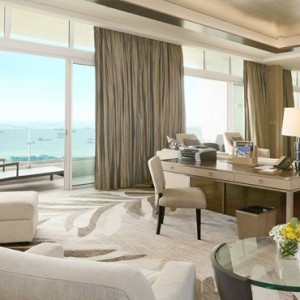 Marina Bay Sands - Luxury Singapore Honeymoon Packages - Marina Suite living area
