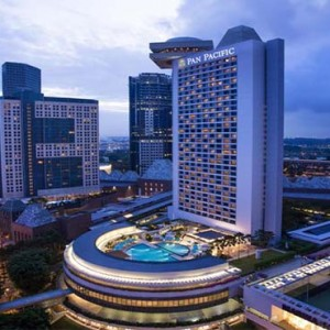 Pan Pacific Luxury Singapore Honeymoon Packages Hotel Aerial View At Night