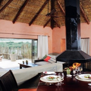 Pumba Private Game reserve - Luxury South Africa Honeymoon Packages - water lodge dining area