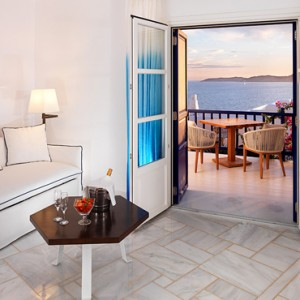 Sea View suite Separate living Room 2 - Mykonos Grand Hotel and Resort - luxury Greece honeymoon Packages
