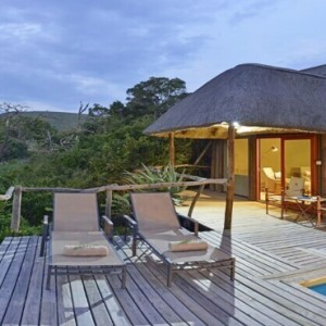 Shamwari Game Reserve - Luxury South Africa Honeymoon Packages - Bayethe Tented lodge exterior pool