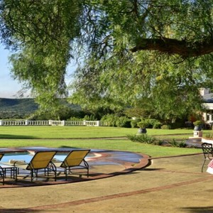 Shamwari Game Reserve - Luxury South Africa Honeymoon Packages - Long Lee Manor pool and garden