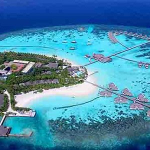 Centara Grand Island Resort & Spa - Luxury Maldives Honeymoon Packages - aerial view of island