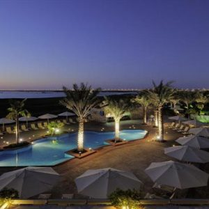 Abu Dhabi Honeymoon Packages Radisson Blu Hotel, Abu Dhabi Yas Island Outdoor Pool At Night