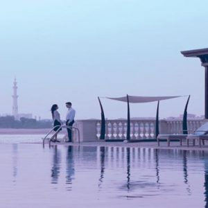 Abu Dhabi Honeymoon Packages Shangri La Hotel Qaryat Al Beri Infinity Pool At Dusk
