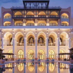 Abu Dhabi Honeymoon Packages Shangri La Hotel Qaryat Al Beri Pool At Night